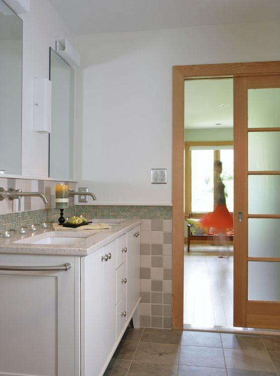 5 panel simpson bathroom pocket door with opaque glass
