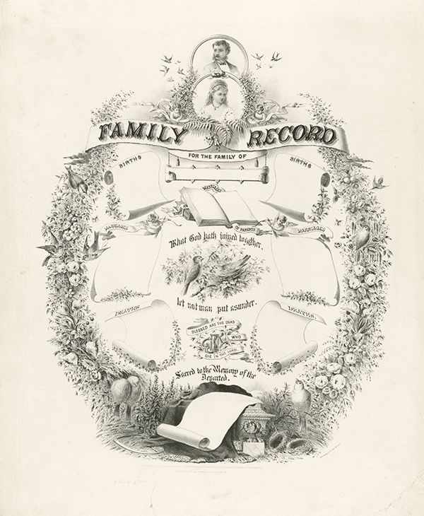 7. Family Record. CREATED/PUBLISHED: c1872 Size 42 x 34 centimeters. The original gift will be a family record in the old style. Print out the image you like and frame it. These images you can download high quality file from the site artfamilytree.com