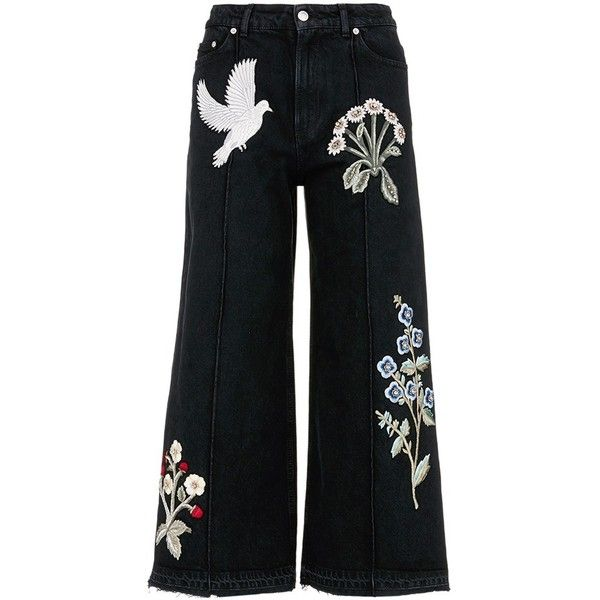 Alexander McQueen Swallow gryphon floral appliqué culotte jeans found on Polyvore featuring jeans, pants, bottoms, black, trousers, floral printed jeans, floral skinny jeans, alexander mcqueen, floral jeans and floral print jeans
