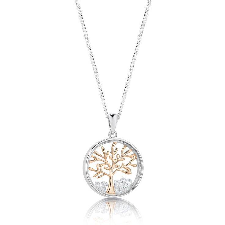 Sterling silver & rose gold tree pendant