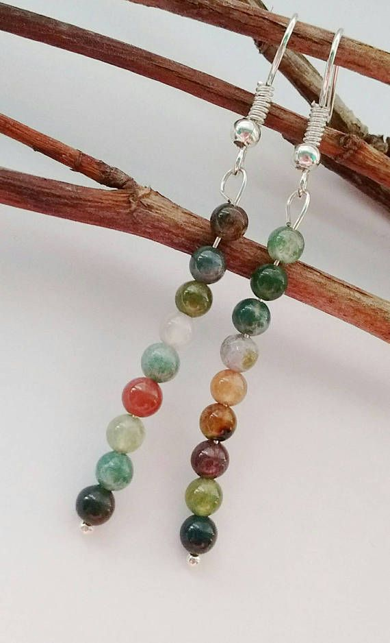 Green Agate Earrings Multi Coloured Earrings Dangle