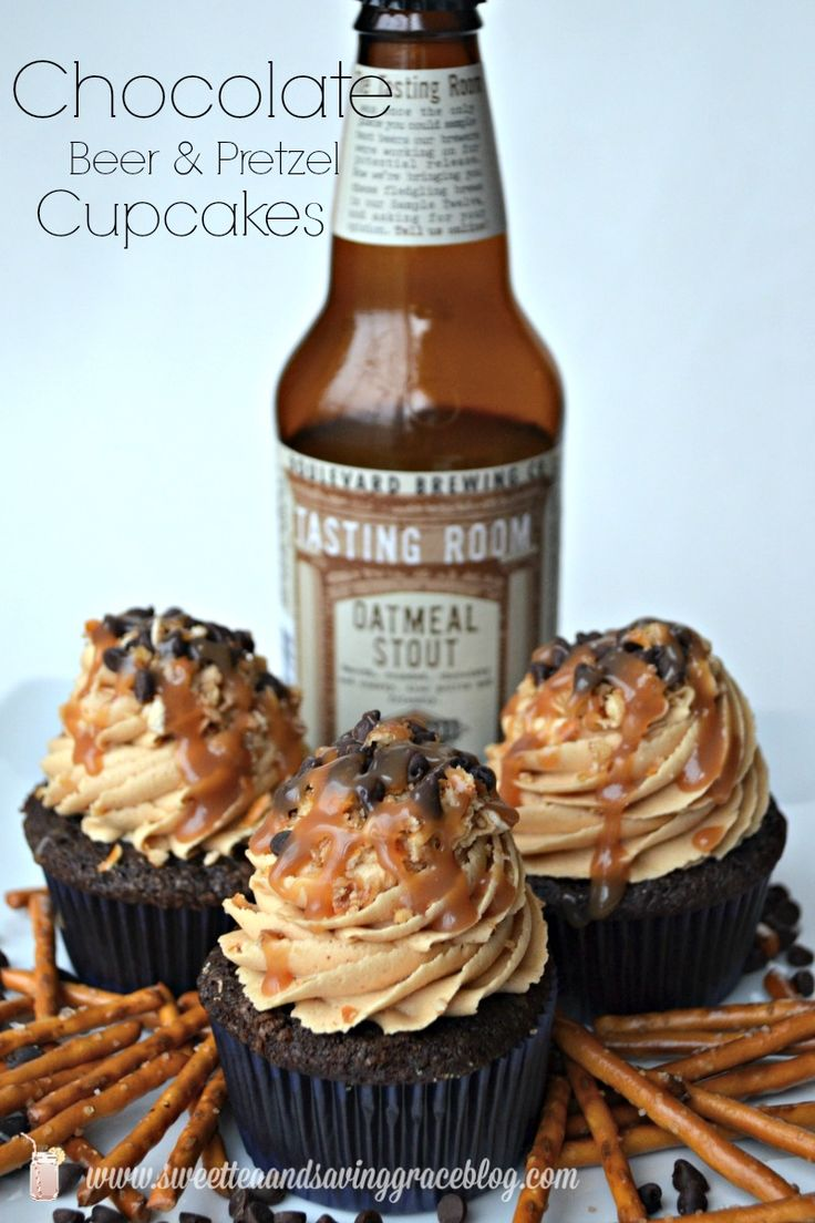 Chocolate Beer & Pretzel Cupcakes - Perfect for your SuperBowl party!!  Sweet Tea & Saving Grace