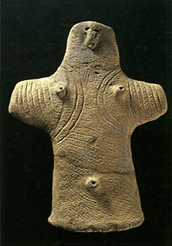 "Japanese ceramic figurine ""DOGU"". Jomon-era. Aomori Japan.   BC.3,500 - BC.2,500."