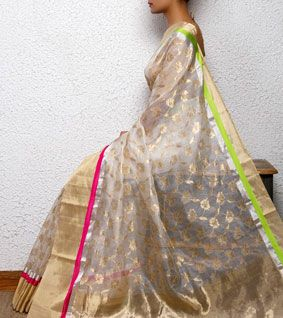 White Silk Chanderi Saree with Zari Work