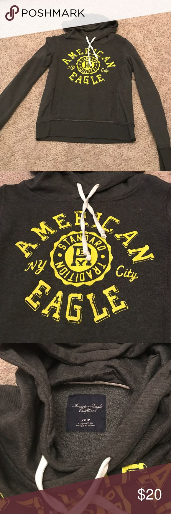 AMERICAN EAGLE HOODIE grey and yellow hoodie, worn once, GREAT condition American Eagle Outfitters Tops Sweatshirts & Hoodies