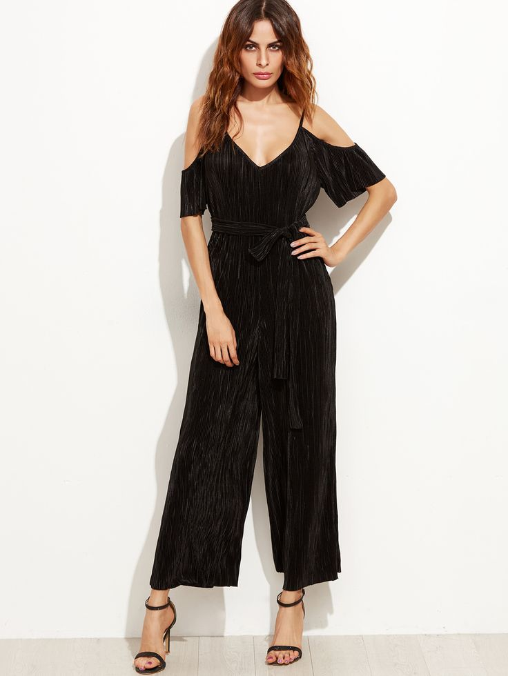 Shop Cold Shoulder Self Tie Pleated Wide Leg Jumpsuit online. SheIn offers Cold Shoulder Self Tie Pleated Wide Leg Jumpsuit & more to fit your fashionable needs.