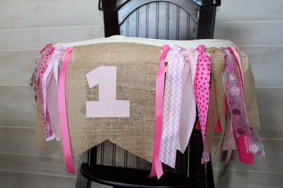 Shabby Chic Highchair Banner, I am One Banner, Pink & Burlap Birthday