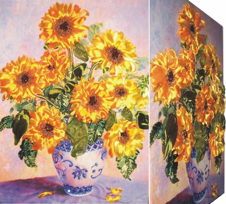 SUNFLOWERS 3D Ribbon embroidery on printed canvas with back woodden frame size: cm. 37x50 Price: € 180,00 $ code: P008