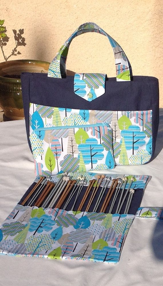 Large Knitting Bag Needle Organizer And Zippered Pouch Handmade Bags Pinterest Knitted Needles