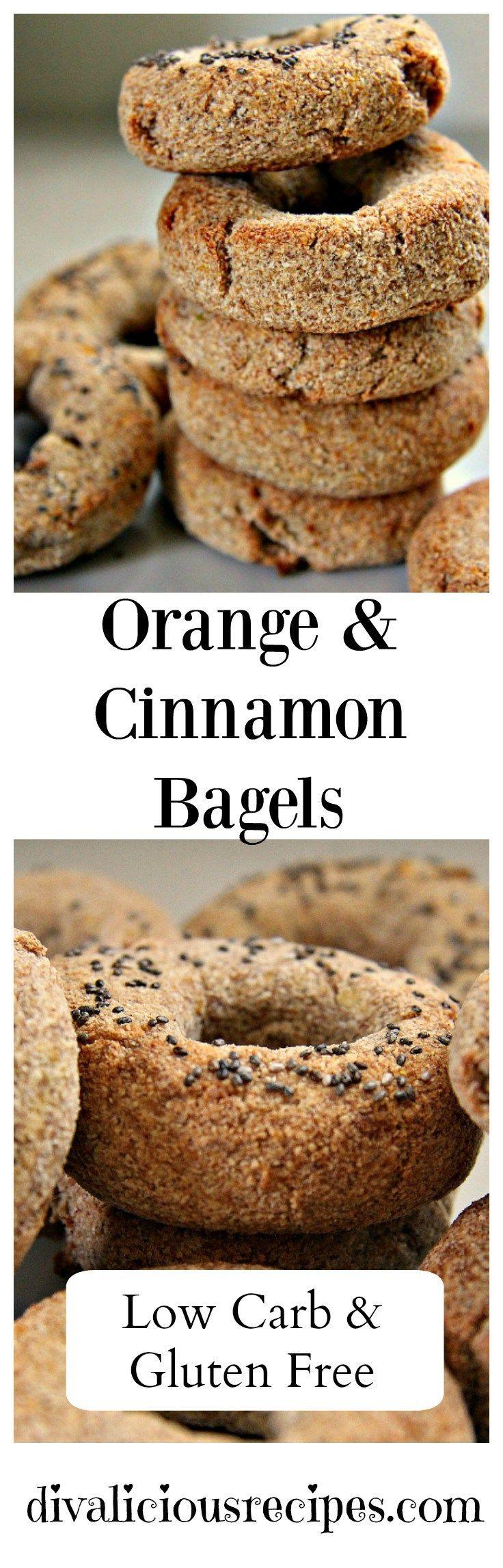 Low carb & gluten free orange & cinnamon bagels. Recipe: http://divaliciousrecipes.com/2016/12/01/orange-cinnamon-mini-bagels/