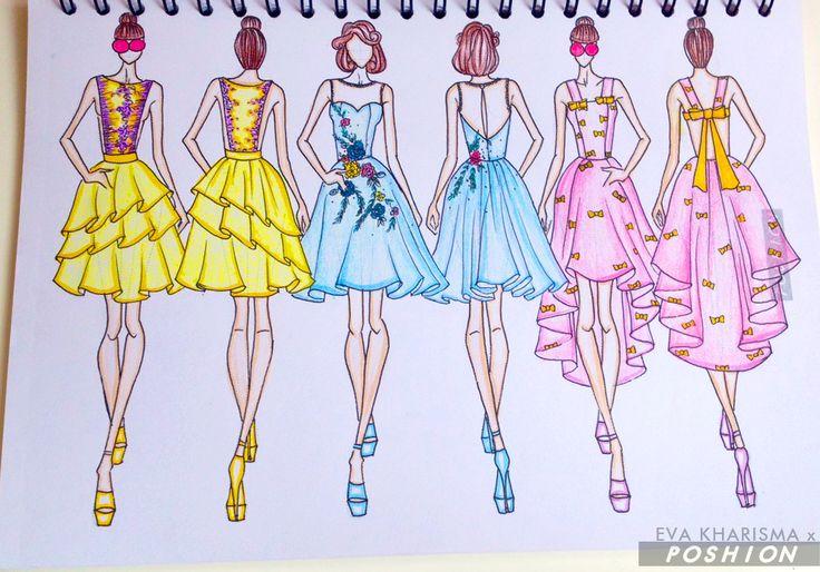 Poshion Sketch Book | #fashionillustration #sketchbook #fashionsketch #fashiondesign #draw #croquis #learntodraw #fashionposes #fashionfigure #fashion #gaunpesta #partydresses #illustration