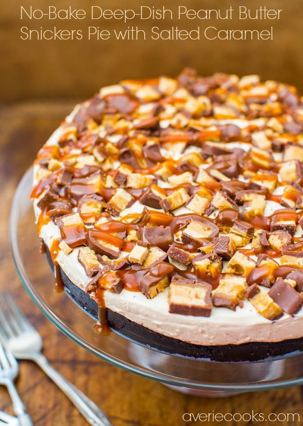 No-Bake Deep-Dish Peanut Butter Snickers Pie with Salted Caramel - The perfect pie: Peanut Butter, Chocolate, Loaded with Candy & Dripping in Caramel!