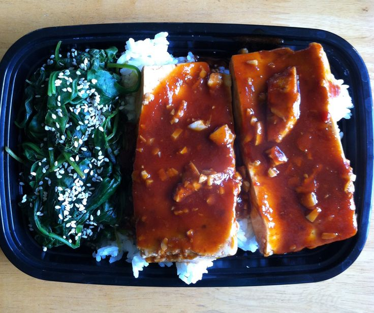 Smoky Maple Marinated Tofu steaks over Japanese white rice and steamed spinach