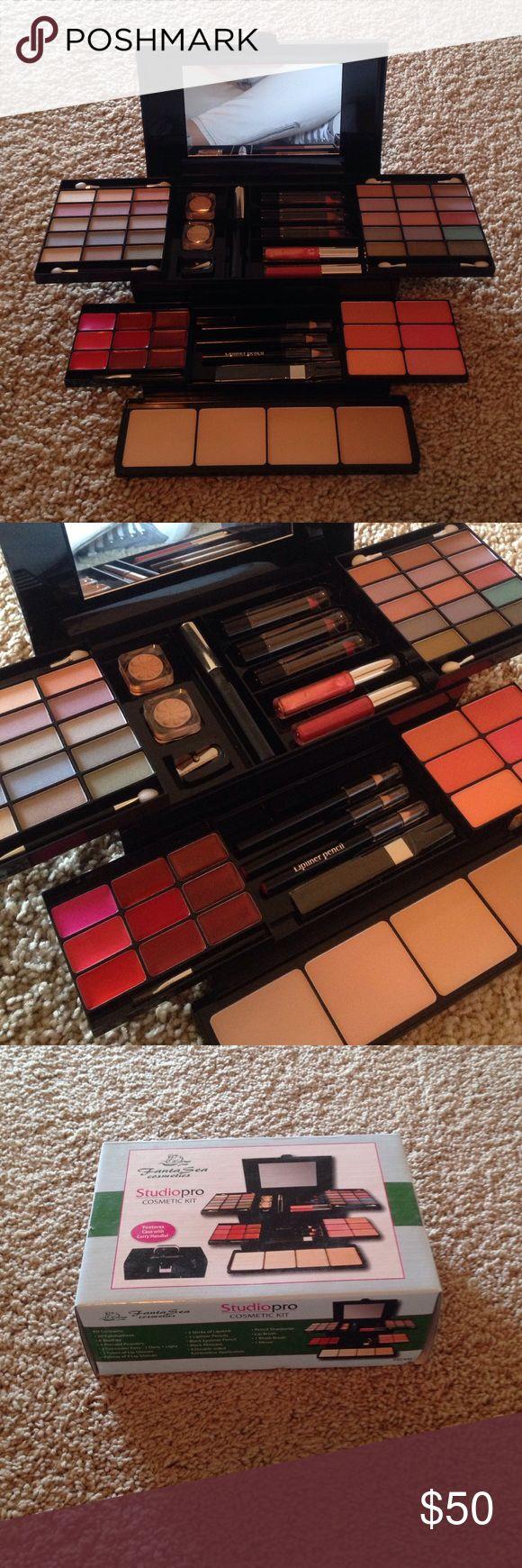 Makeup kit 30 eye shadows 6 blushes 4 powders 2 concealer 2 lip gloss 3 lip stick 2 lip liner eyeliner mascara pencil sharpener mirror.  NIB new in box!!!! Fanta sea Makeup
