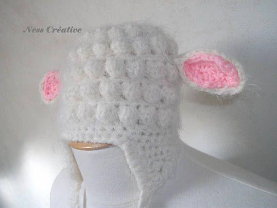 Bonnet mouton  fait au crochet pour bébé 3 mois
