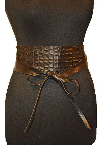 Black leather obi belts. Leather under alligator by PichykDesign