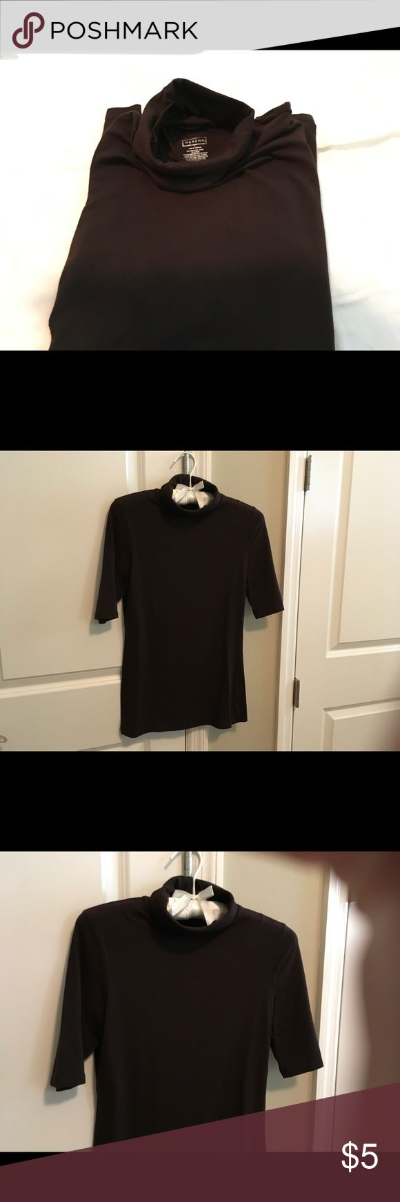 Merona Short Sleeve Top Merona brown short sleeve turtleneck cotton spandex size S nice and soft EUC don't forget to bundle. Other colors available😎 Merona Tops