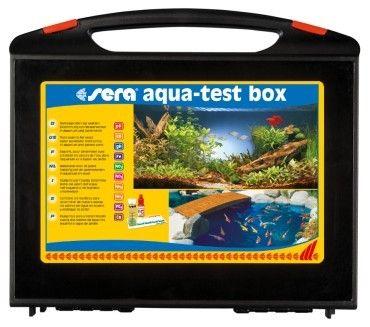 *** Precio 95,50€ ***SERA Aqua Test Box analisis del acuario de agua dulce y estanque. Los propietarios de acuarios y estanques más experimentados controlan con regularidad el agua del acuario. De esta manera, es posible adoptar, rápida y fácilmente, medidas de precaución,El sera aqua-test box contiene los tests siguientes: valor de pH dureza total dureza de carbonatos amonio/amoníaco nitrito: _ Nitrato,fosfato,hierro,cobre o cloro,