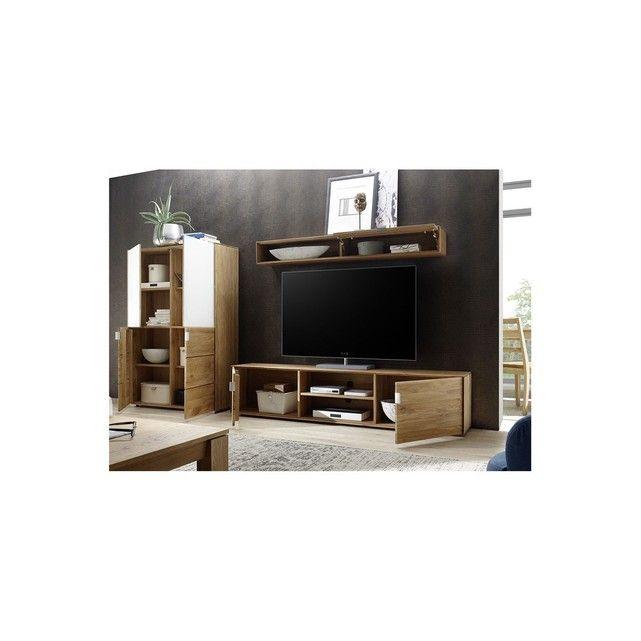 Meuble Tv Bas 2 Portes Filigrame En Chene Naturel Meuble Tv Bas