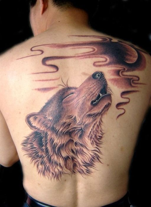 Cool Back Wolf Moon Tattoos for Men