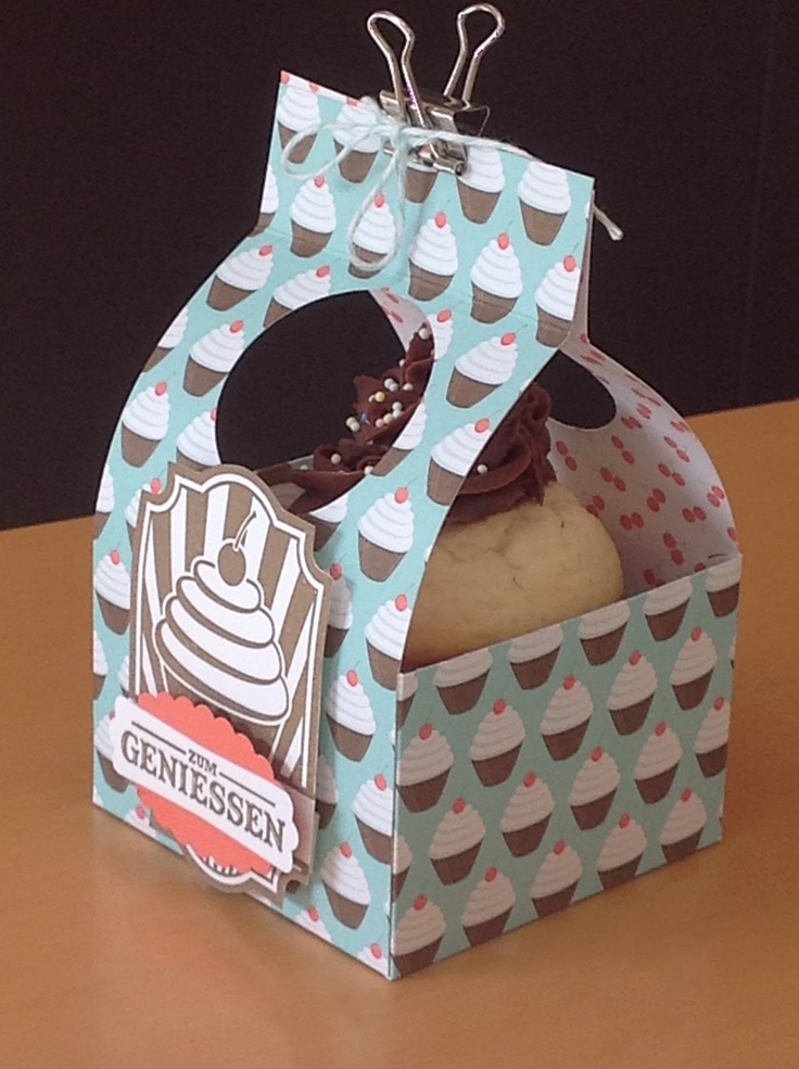 Cupcake Box ~ maybe use double-sided tape to closethe top?