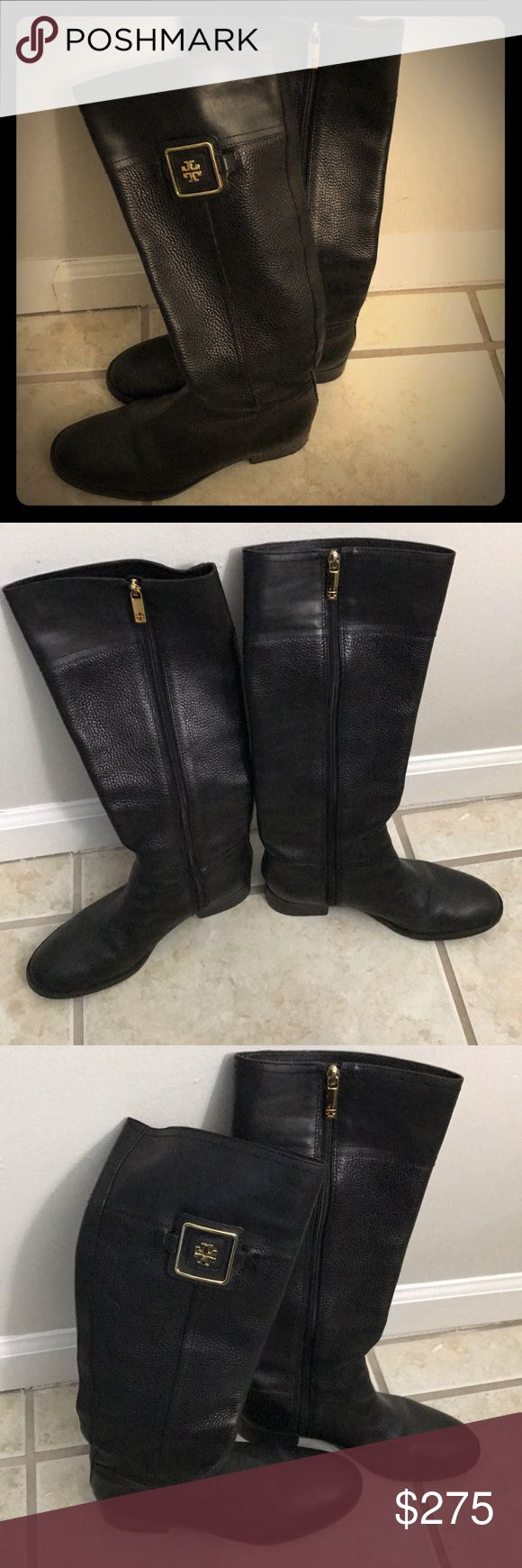 Tory Burch Black pebble leather boots size 9 Tory Burch Black pebble leather boots size 9. Beauty TB boots. Leather is so soft and comfortable - but made for slim calf to fully zip. TB signature hardware is gold. Inside of boot has TB signature interior Tory Burch Shoes