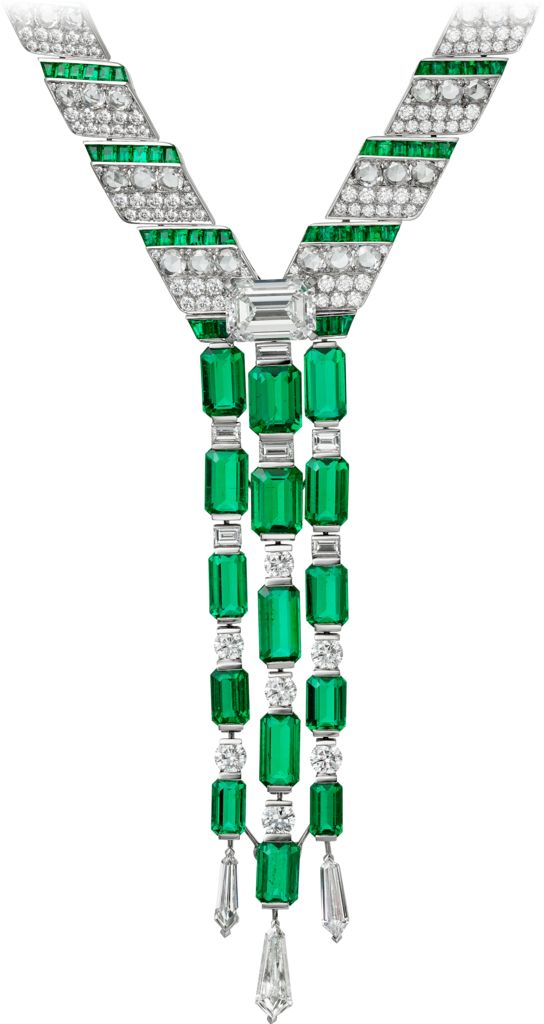 CARTIER. Necklace - platinum, 15 emerald-cut emeralds from Afghanistan totalling 24.57 carats, one 5.53-carat F VVS1 emerald-cut diamond, calibrated emeralds, kite-shaped diamonds, baguette-cut diamonds, rose-cut diamonds, brilliant-cut diamonds.