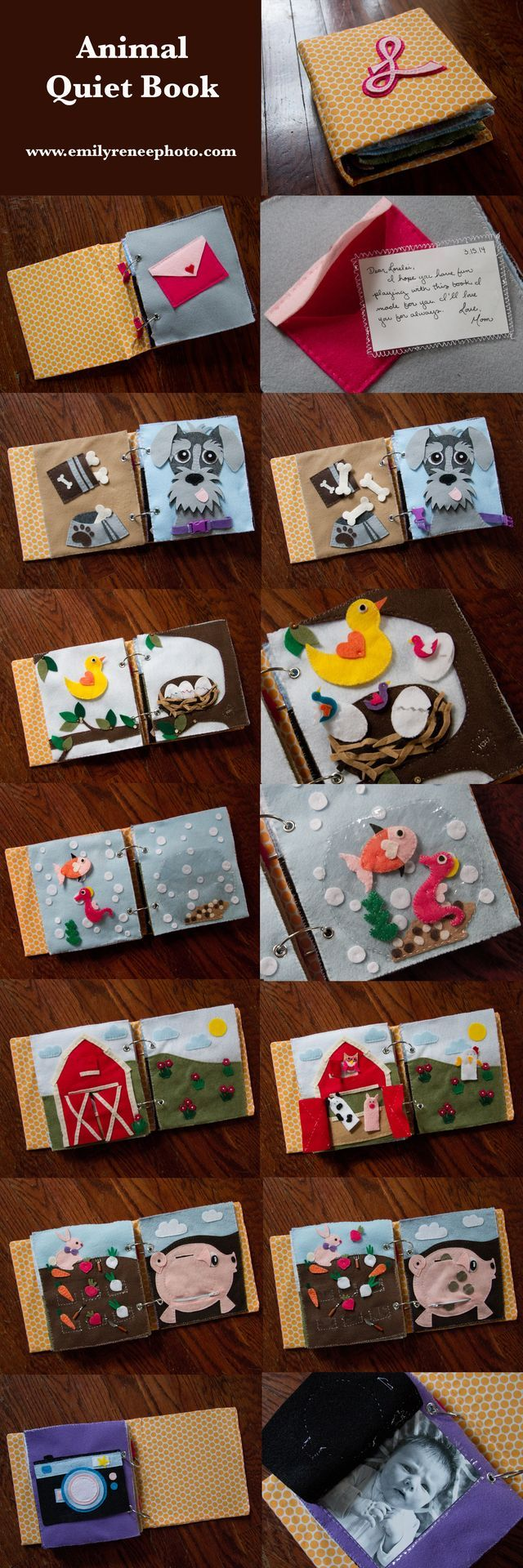Love letter/envelope page. Bird and chicks in tree/nest. Farm animals. Camera with baby picture!