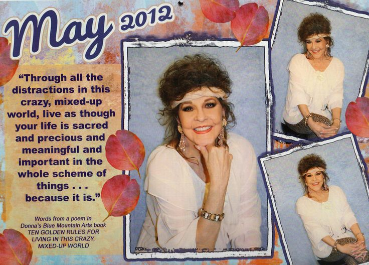 The beautiful top that Donna is wearing in this May 2012 calendar photo is up for auction on eBay (ending on June 7, 2014!) Also included is the headband/scarf and belt plus an autographed calendar & photo!  Too cool!