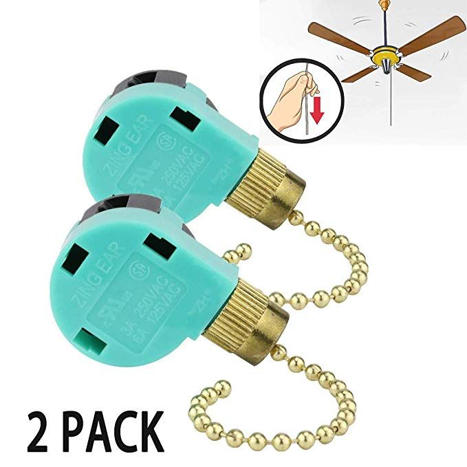 3 Speed Ceiling Fan Switch Zing Ear Pull Chain Cord Switch Use For Ceiling Fans Appliances Wall Lamps Cabinet Light Replacement Speed Control 2 Pack Revi Dizajn