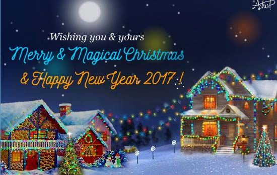 A warm greeting with merry & magic of Christmas and cheerful firework celebrations of the coming New year 2017 together. . #christmas #merrychristmas #magical #newyear2017 #newyearfireworks #santa #december