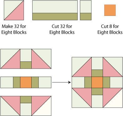 Churn Dash Quilt Block Pattern