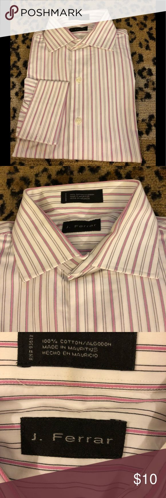 J. Ferrar White w/ Pink Stripe French Cuff Shirt J. Ferrar White with Pink and Black Stripe French Cuff Dress Shirt size 16.5 34/35! Great condition!  Please make reasonable offers and bundle! Ask questions :) J. Ferrar Shirts Dress Shirts