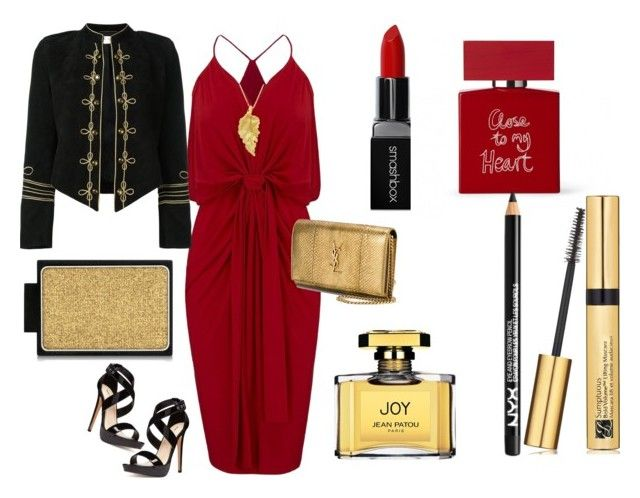 """""""My powerful look"""" by byasha ❤ liked on Polyvore featuring MISA Los Angeles, Nine West, Yves Saint Laurent, London Road, Smashbox, Bella Freud, NYX, Buxom, Jean Patou and Estée Lauder"""