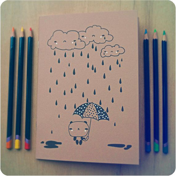 A5 handmade Cute Notebook  Kawaii themed  Hand by WillowEyes, £3.10