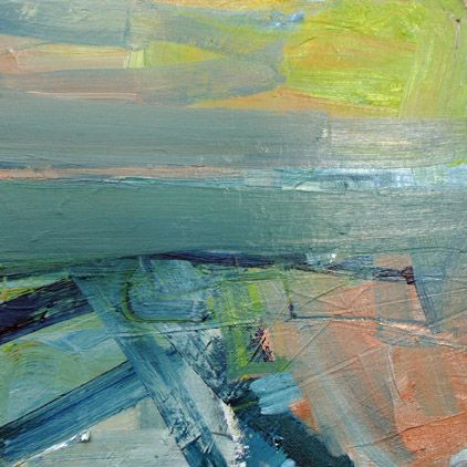 'Fields Across the Firth of Forth' by Mairi Clark Oil on canvas: 30 x 30 cm Signed