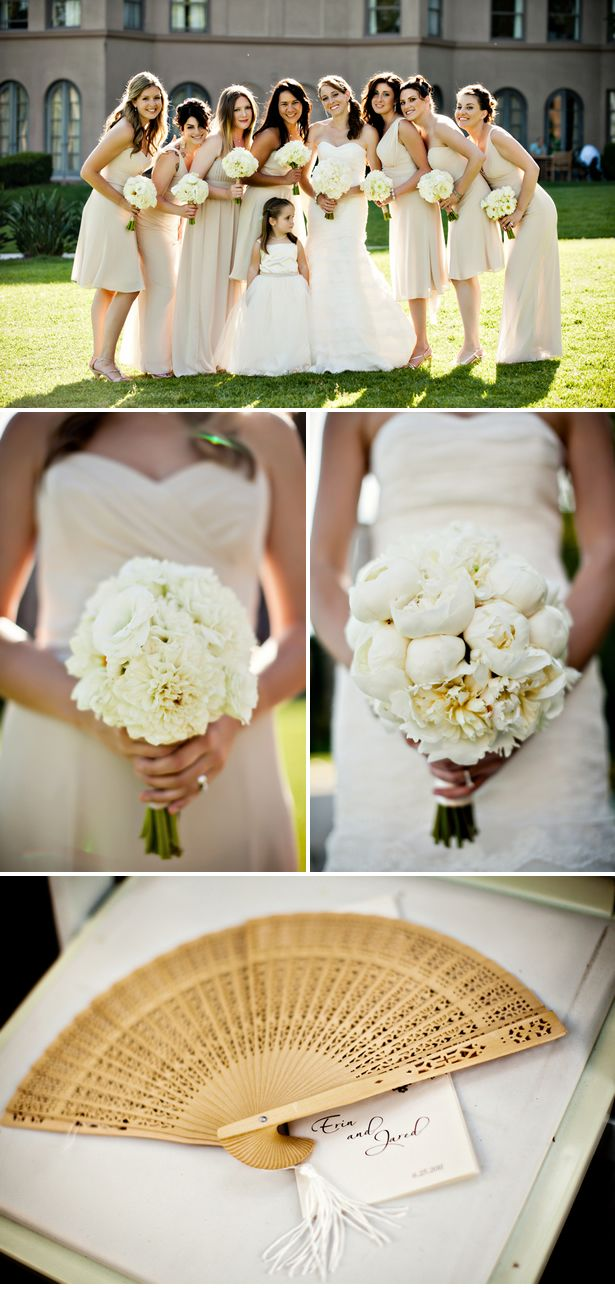Ivory bridesmaids and white flowers