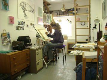 Caroline Jackman working in her studio in Godalming Surrey
