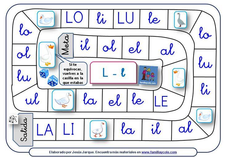 Juegos de la Oca para aprender a leer sílabas directas e inversas con la letra L