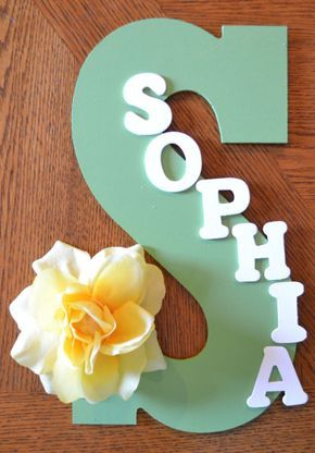 "YELLOW FLOWER Theme- Personalized 13.5"" Hand Painted Wooden Letter Initial Hanging Wall Art With Name"