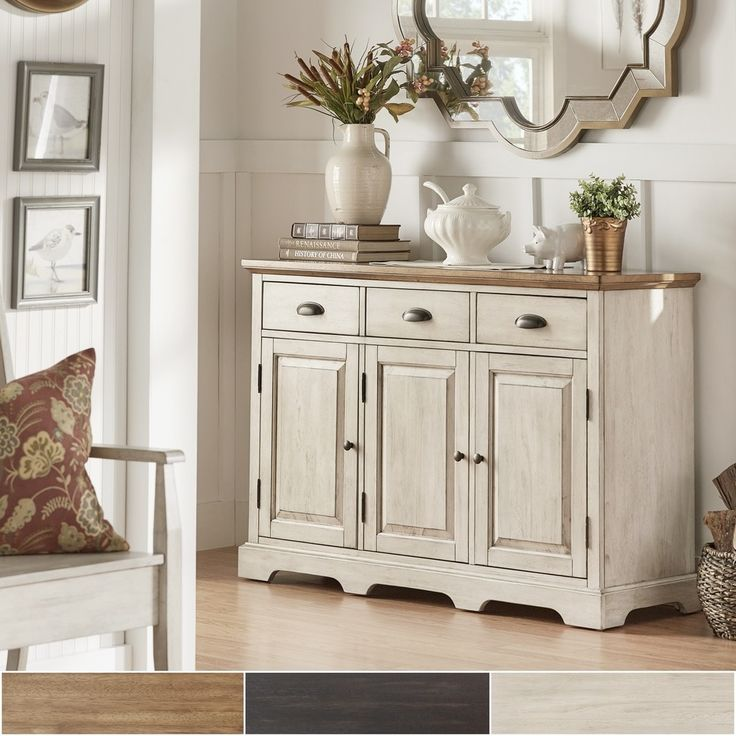 Eleanor Two Tone Wood Cabinet Buffet Server By Tribecca Home (Oak Top With  Antique White Finish Base), Brown