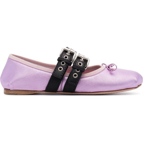 Miu Miu buckled ballet flats ($696) ❤ liked on Polyvore featuring shoes, flats, purple flats, leather lace up ballet flats, metallic shoes, purple ballet shoes and miu miu shoes