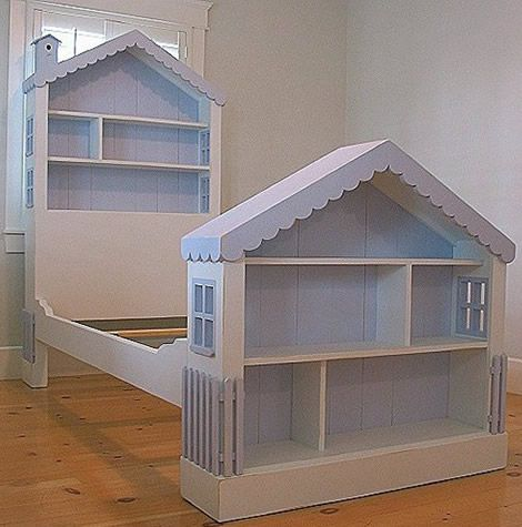 dollhouse gallery | Our hand-constructed, solid wood Dollhouse Bookcase bed or headboard ...