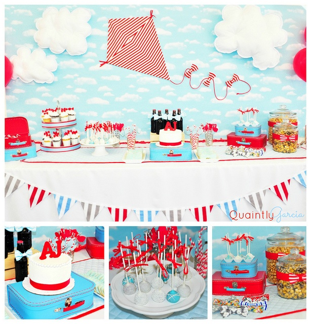 Red and Baby Blue Baby Shower. Via Quaintly Garcia