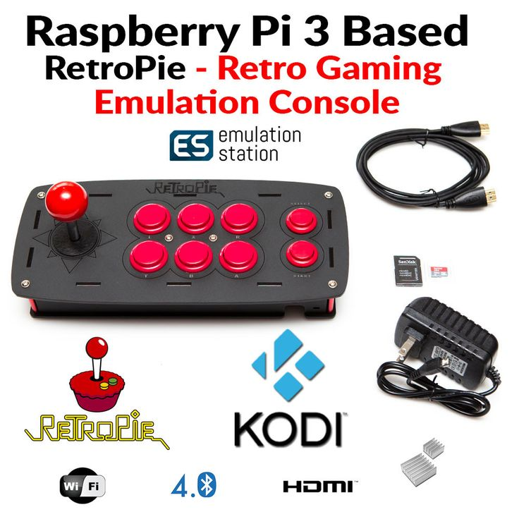 Raspberry Pi 3 RetroPie Retro Emulation Game Console 32GB and Kodi Fully Loaded