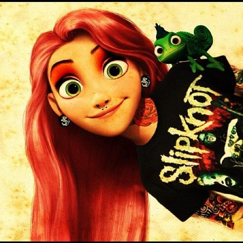 Instagram red haired tattooed me rapunzel and pascal for Tattooed disney princesses