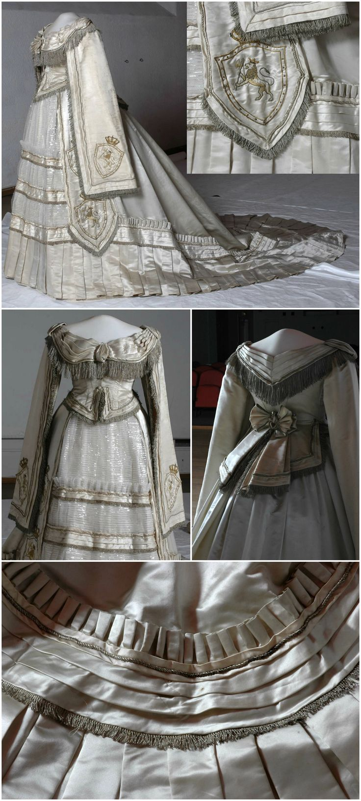 Coronation dress [shown here without train], 1872, Norwegian Folk Museum, via DigitaltMuseum. Photos: Reinsfelt, Anne-Lise / Norwegian Folk Museum. Worn to the Norwegian coronation of King Oscar II of Sweden and Norway in 1873 [most likely by his consort, Sofia of Nassau, as indicated by the crowned lions wielding axes, an emblem of Norwegian royalty, that have been appliqued onto the dress. In fact, this dress is similar in style to the outfit she wore for her coronation as queen of…