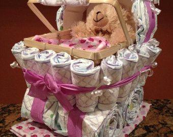 Boy Diaper Carriage Unique Baby Shower Gift von JocelynsCreations