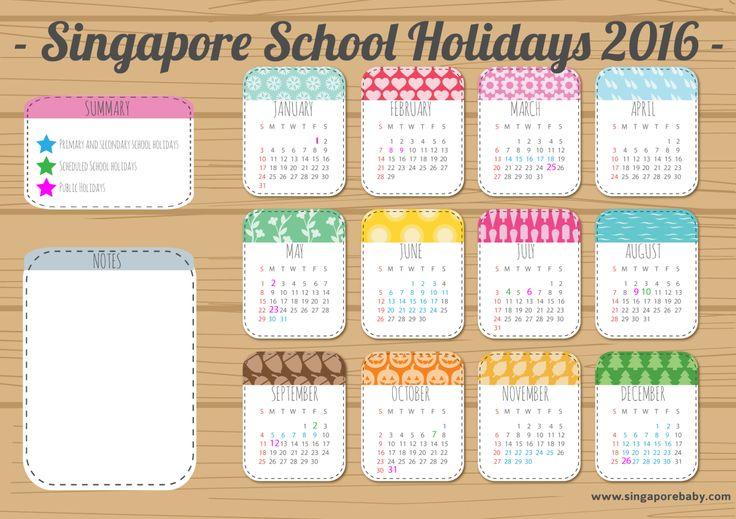 Calendar - 2016 - Singapore Public School Holidays 2016: Free Printable Calendar