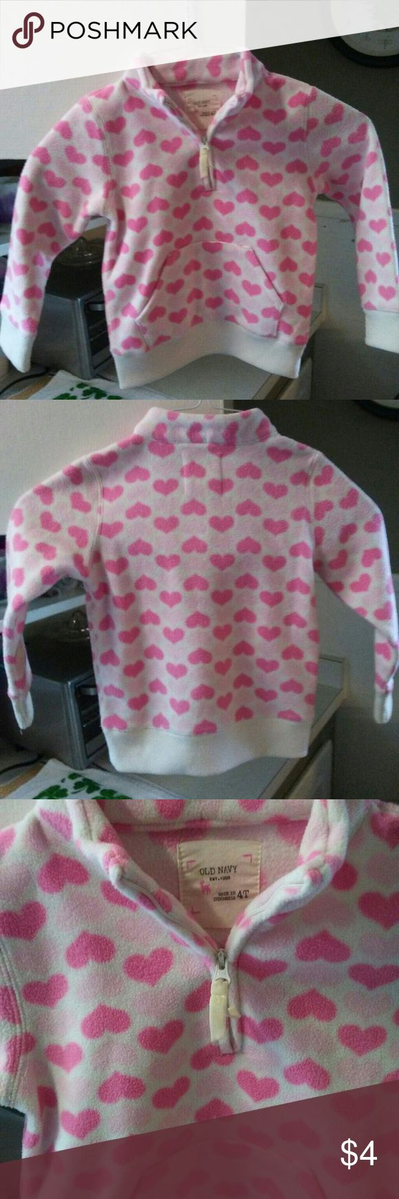 OLD NAVY HOODIE FLEECE GIRLS 4T PINK HEARTS GENTLY USED GIRLS 4T OLD NAVY FLEECE HOODIE WITH PINK HEARTS ONTO OF WHITE BACKGROUND. Old Navy Shirts & Tops Sweatshirts & Hoodies